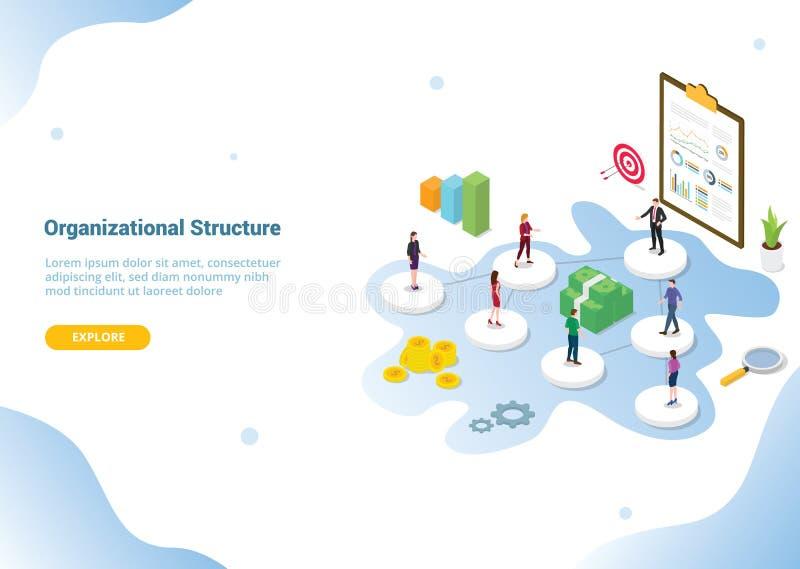 与等量或isometry 3d样式的公司或组织结构概念网站模板横幅或登陆的主页的- 向量例证