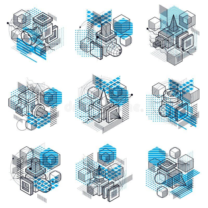 与等量线和形状的抽象传染媒介背景 立方体、六角形、正方形、长方形和不同的抽象元素 皇族释放例证
