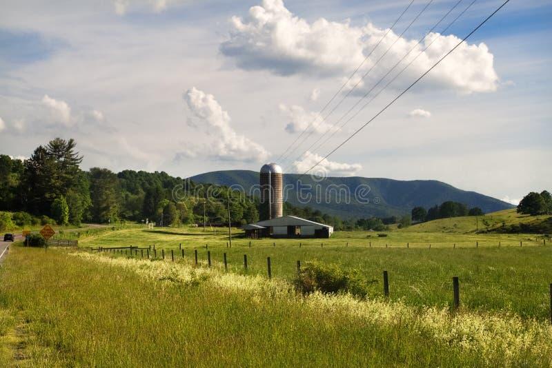 与筒仓塔、绿色农田和尖桩篱栅的农村牧人风景 图库摄影
