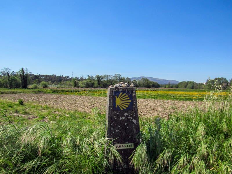 与签署道路的黄色扇贝壳的风景通往圣詹姆斯朝圣路线的孔波斯特拉的圣地牙哥,卡米诺 免版税库存图片