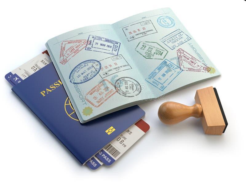 与签证图章和航空公司boading的通行证票的被打开的护照 向量例证