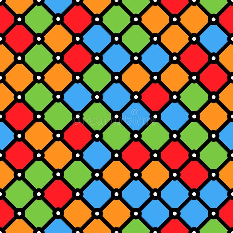 与简单的几何形状的彩色玻璃窗样式 库存例证