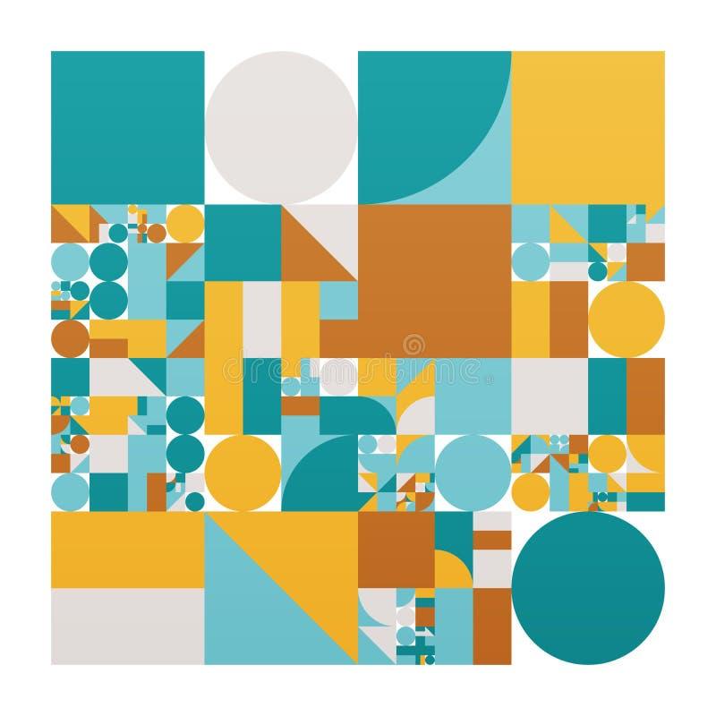 与简单的形状的传染媒介minimalistic海报 程序几何 瑞士样式摘要布局 概念性生产 库存例证