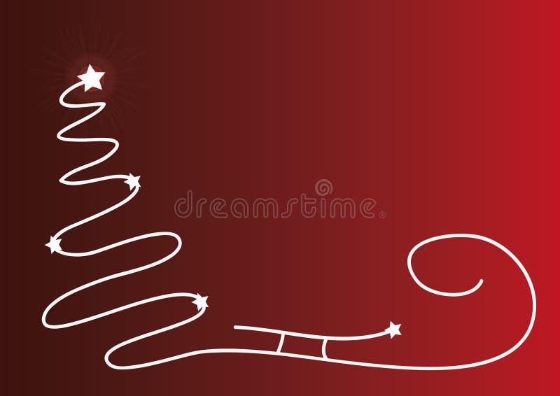 与简单的树,圣诞老人雪橇剪影和发光的星的圣诞节红色背景 与地方的原始的圣诞卡您的te的 库存例证