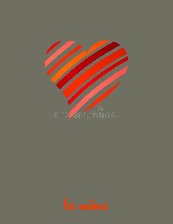 与简单的红色镶边心脏的卡片 库存例证