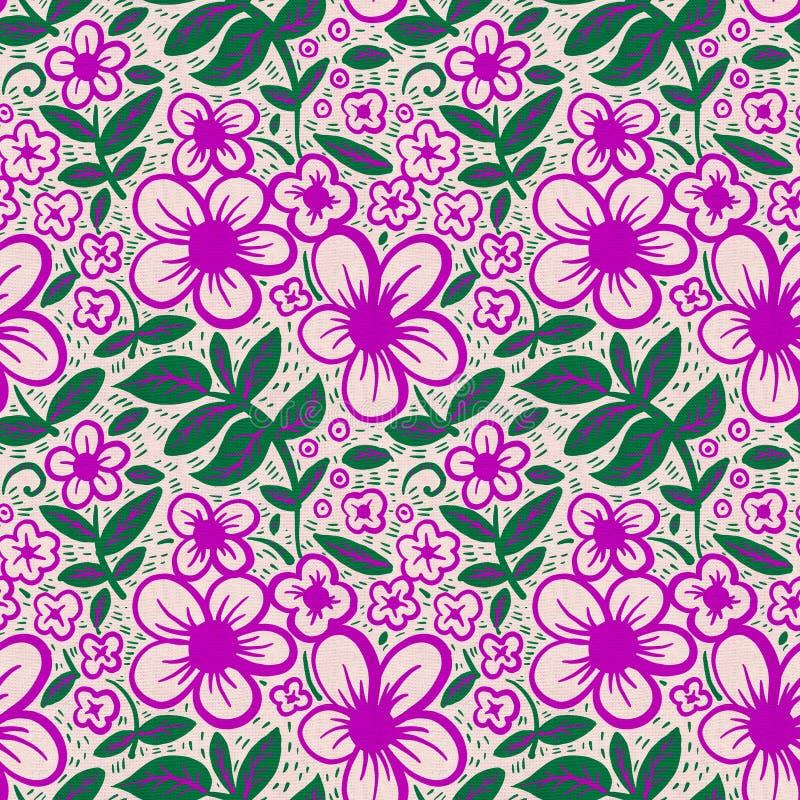 与简单的花的蜡染布样式 向量例证