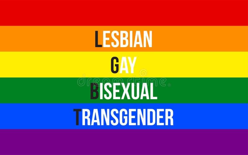 与简称女同性恋者、同性恋者、两性体和变性的LGBT正式自豪感旗子 库存例证