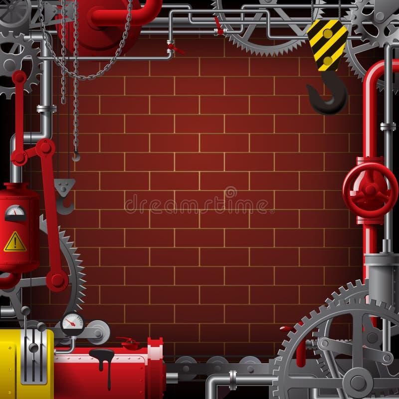 与管子和机器的工业框架适应反对砖 库存例证