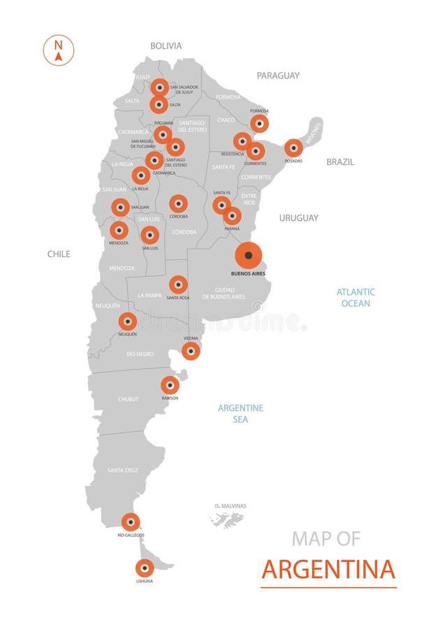 与管理部门的阿根廷地图 库存例证
