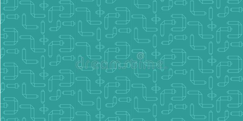 与管的工业时兴的无缝的样式在白色颜色的绿松石背景 设计的用途  库存例证