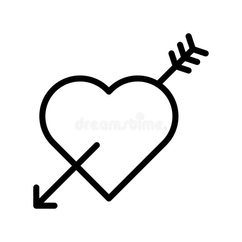 与箭头传染媒介例证,线型象编辑可能的概述的心脏 向量例证