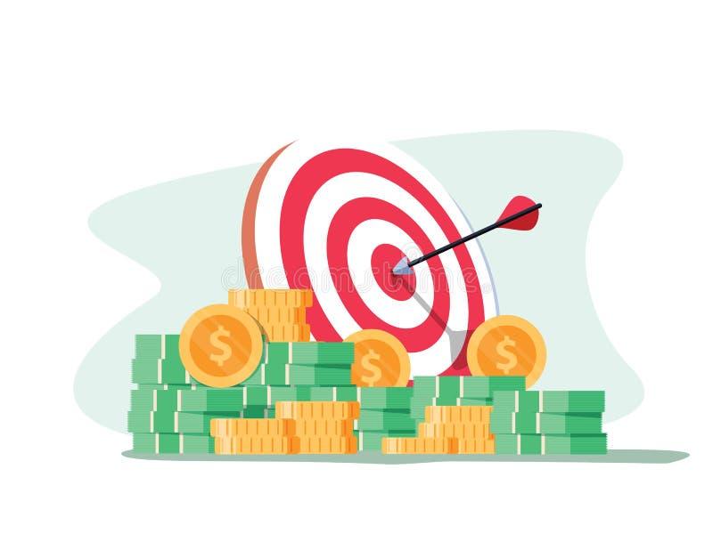 与箭头和堆的目标金币 目标设置 聪明去 向量例证