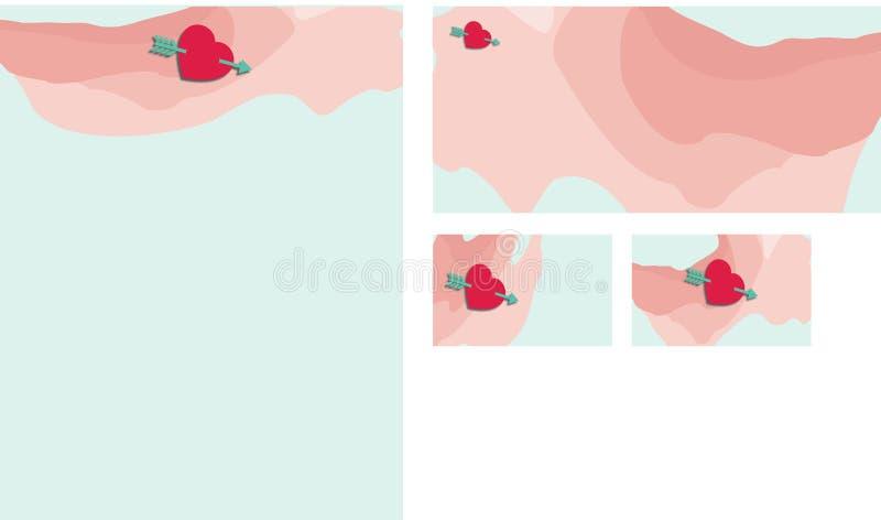 与箭头固定式集合的水彩心脏 图库摄影
