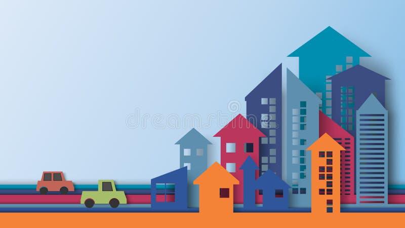 与箭头形状纸艺术样式的大厦 向量例证