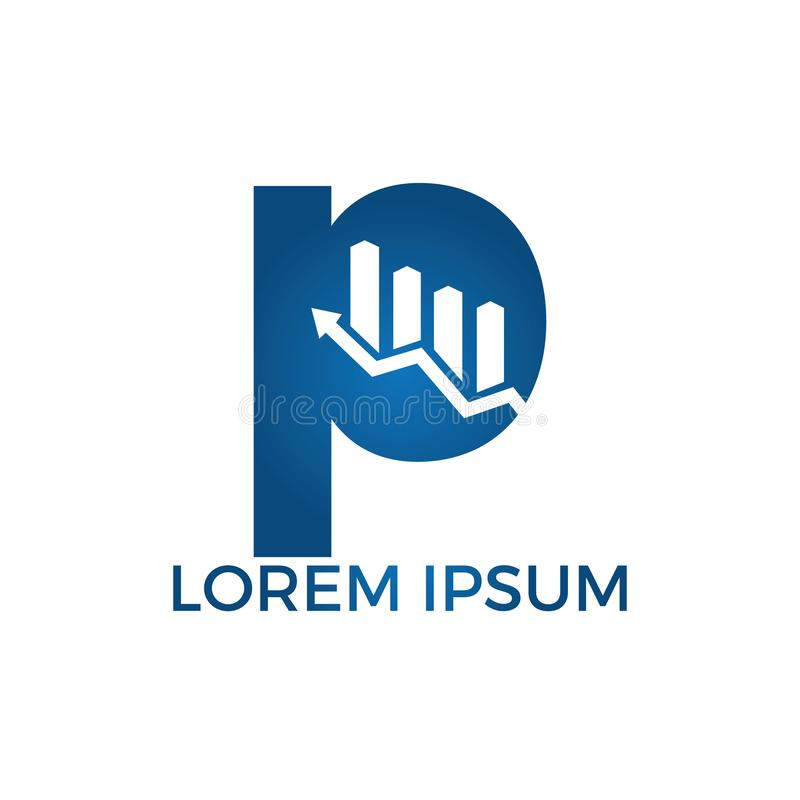 与箭头最初名字企业商标设计的信件P 成长创造性的标志概念 皇族释放例证