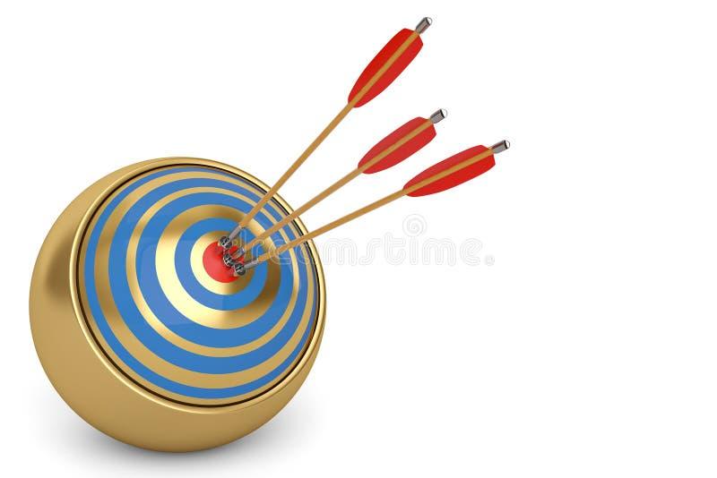 与箭头的回合目标在中心3D例证 向量例证