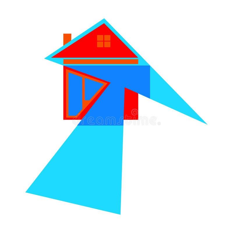 与箭头的房子象作为在途中的标志往成功 r 皇族释放例证