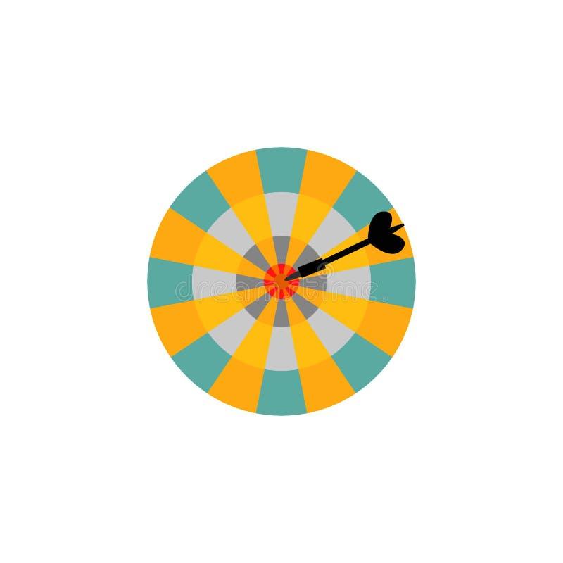 与箭头的掷镖的圆靶在白色背景隔绝的中心目标 库存例证