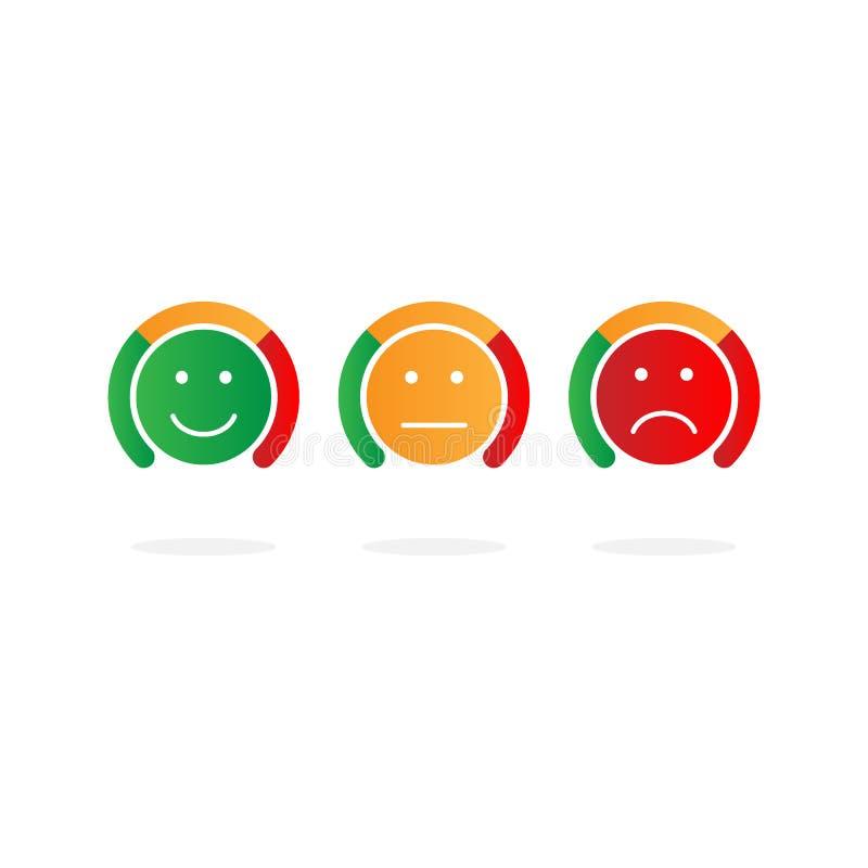 与箭头的标度从绿色到红色和面带笑容 评估象 情感色标  测量设备象标志 向量 向量例证
