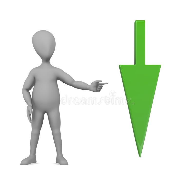 与箭头的漫画人物-绿色下载 向量例证