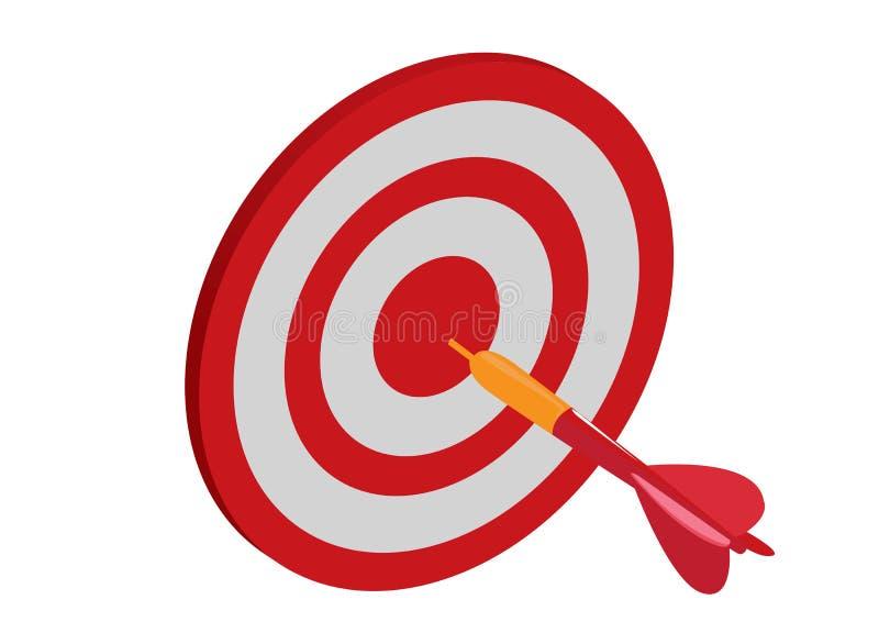 与箭头的目标,目标达到概念 传染媒介例证在白色背景中 库存图片