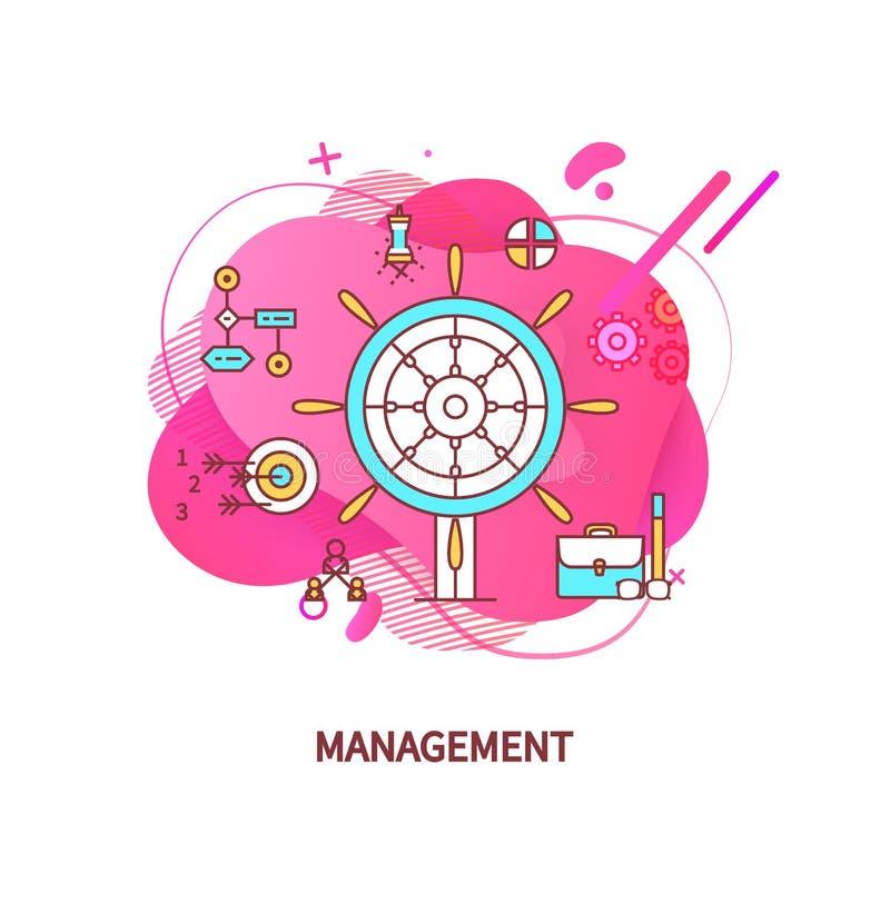 与箭头的管理目标,公文包事务 库存例证