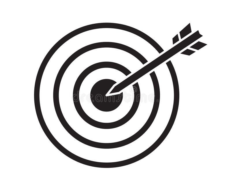 与箭头箭目标在中心,焦点的概念的黑目标 向量例证