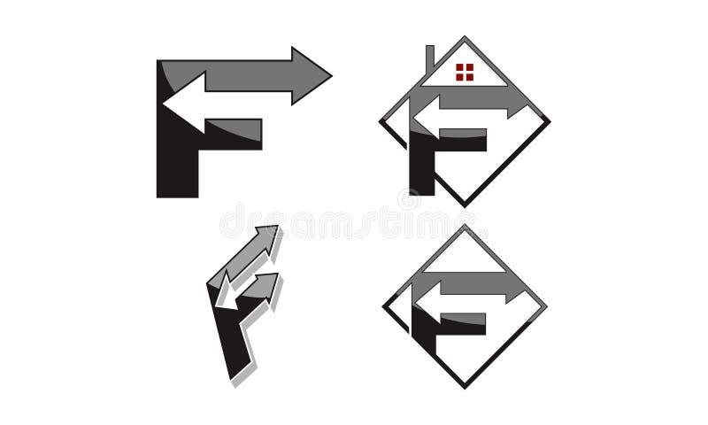 与箭头集合的商标F 皇族释放例证