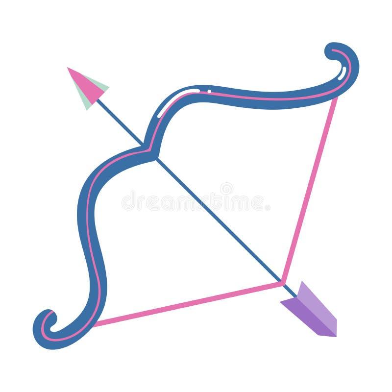 与箭头,人马座黄道带标志的五颜六色的曲拱弓 皇族释放例证