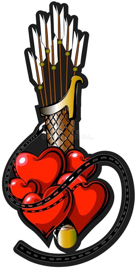 与箭头2的华伦泰纹身花刺 免版税库存照片