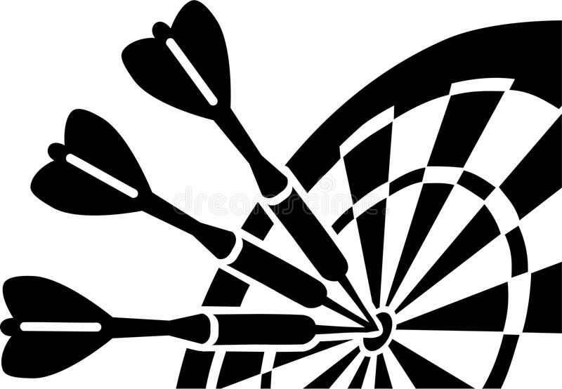 与箭的掷镖的圆靶 库存例证