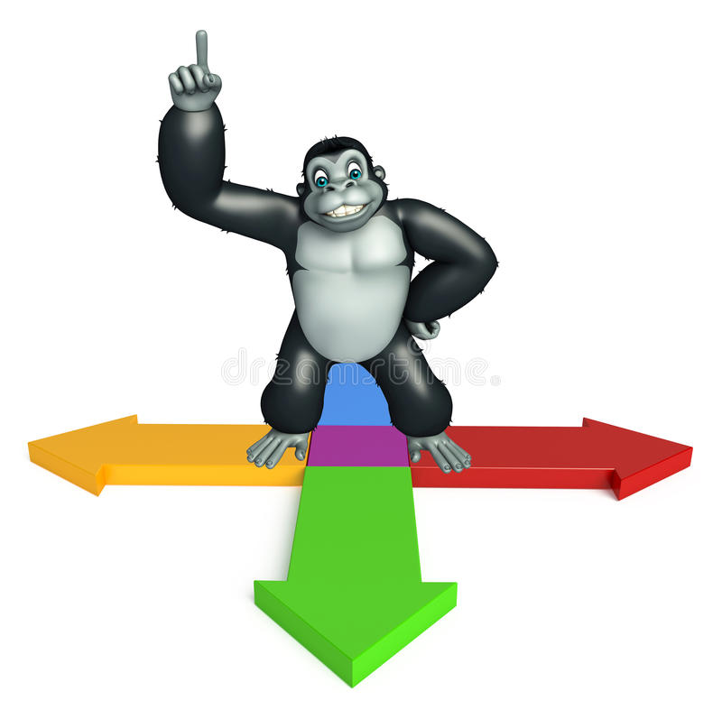 与箭头标志的逗人喜爱的大猩猩漫画人物 皇族释放例证