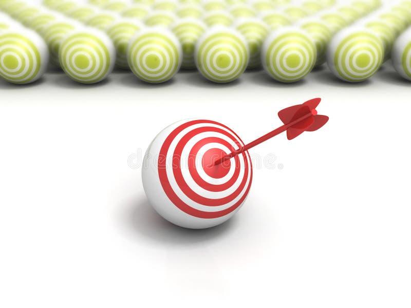 与箭头的单独红色目标球在靶心中心 库存例证