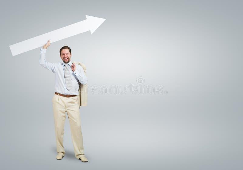 与箭头的商人 免版税库存图片