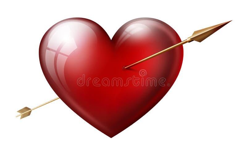 与箭头的心脏 向量例证