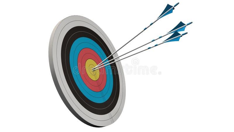 与箭头的目标-与三个弓箭头的目标在白色隔绝的目标中间 免版税图库摄影