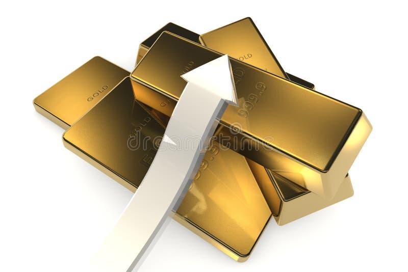 Download 与箭头的金制马上的齿龈3d概念 库存例证. 插画 包括有 商业, 预留, 金块, 封锁, 反映, 市场, 替换 - 62534043