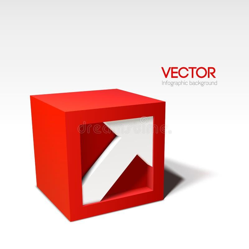 与箭头的Infographic传染媒介红色3D立方体 皇族释放例证