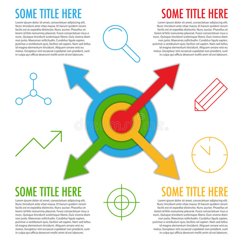 与箭头的Infographic模板从中心和象 库存例证