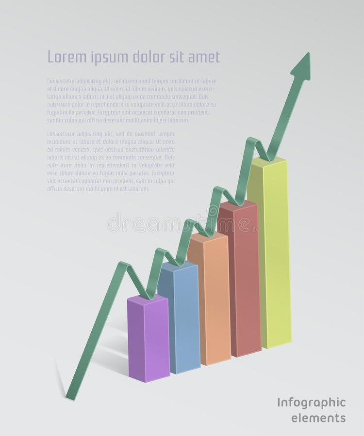 与箭头,颜色Infographic例证的长条图 库存例证