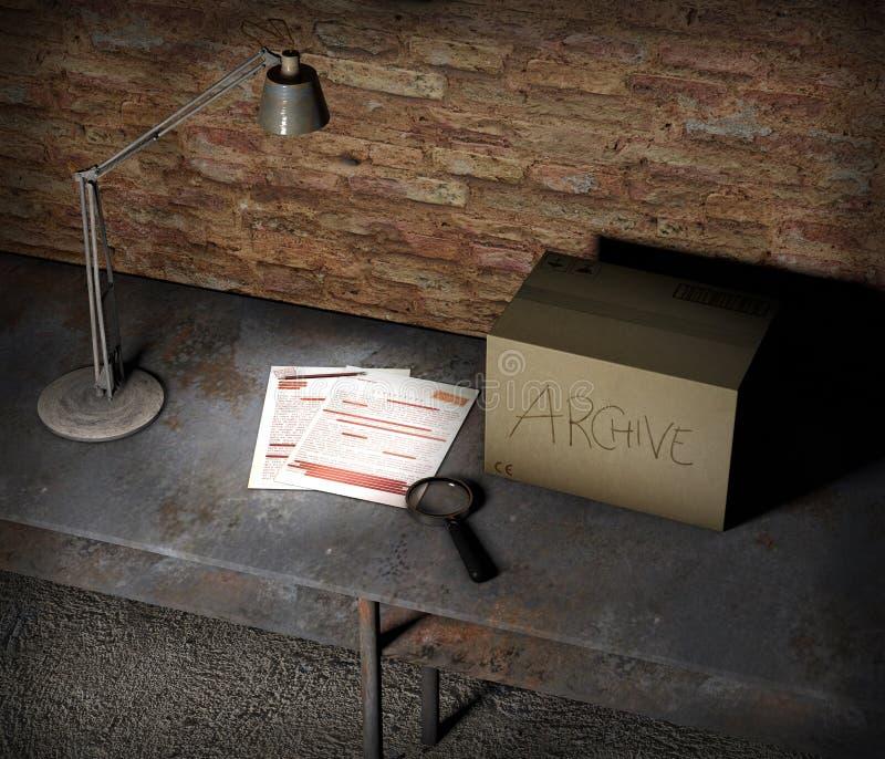 与箱子和最高机密的文件的地下室桌 台灯、放大镜和铅笔 重要板料和文件 皇族释放例证