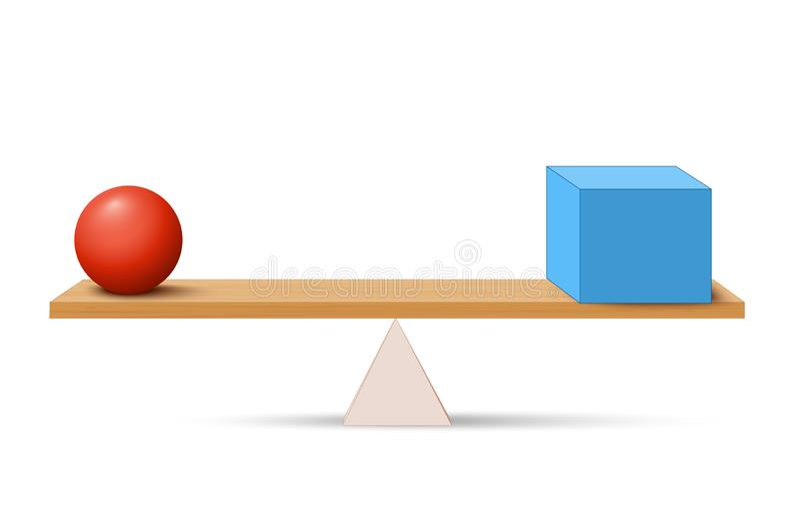 与箱子和球的杠杆 向量例证