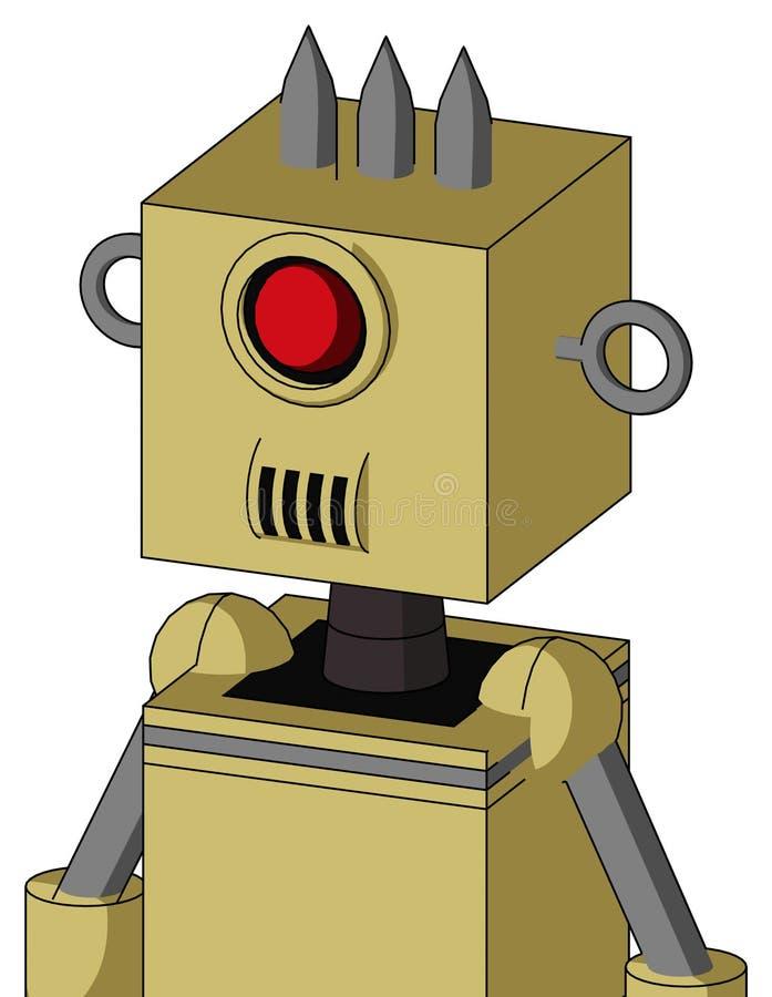 与箱子头的黄色Droid和报告人装腔作势地说,并且独眼巨人注视和三尖 皇族释放例证
