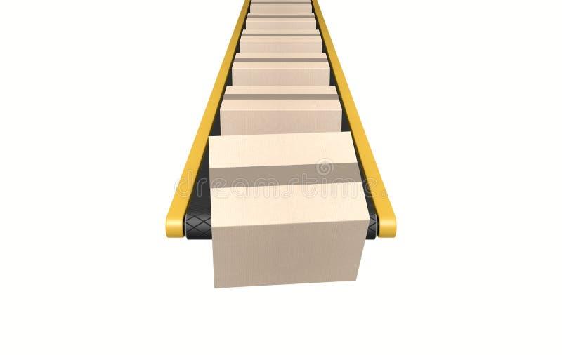与箱子的皮带输送机 库存例证