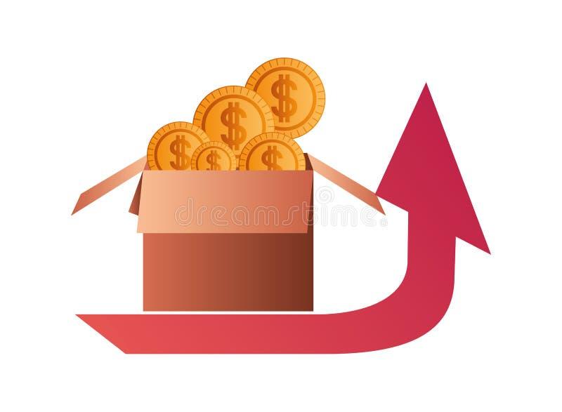 与箱子纸板和美元标志的箭头 向量例证