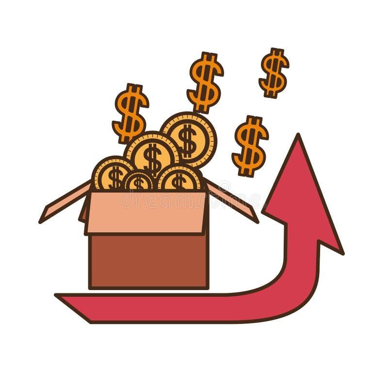 与箱子纸板和美元标志的箭头 皇族释放例证