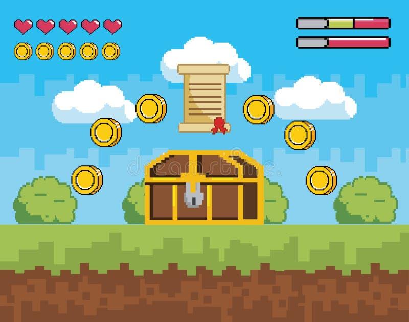 与箱柜的计算机游戏与硬币的场面和信件 皇族释放例证