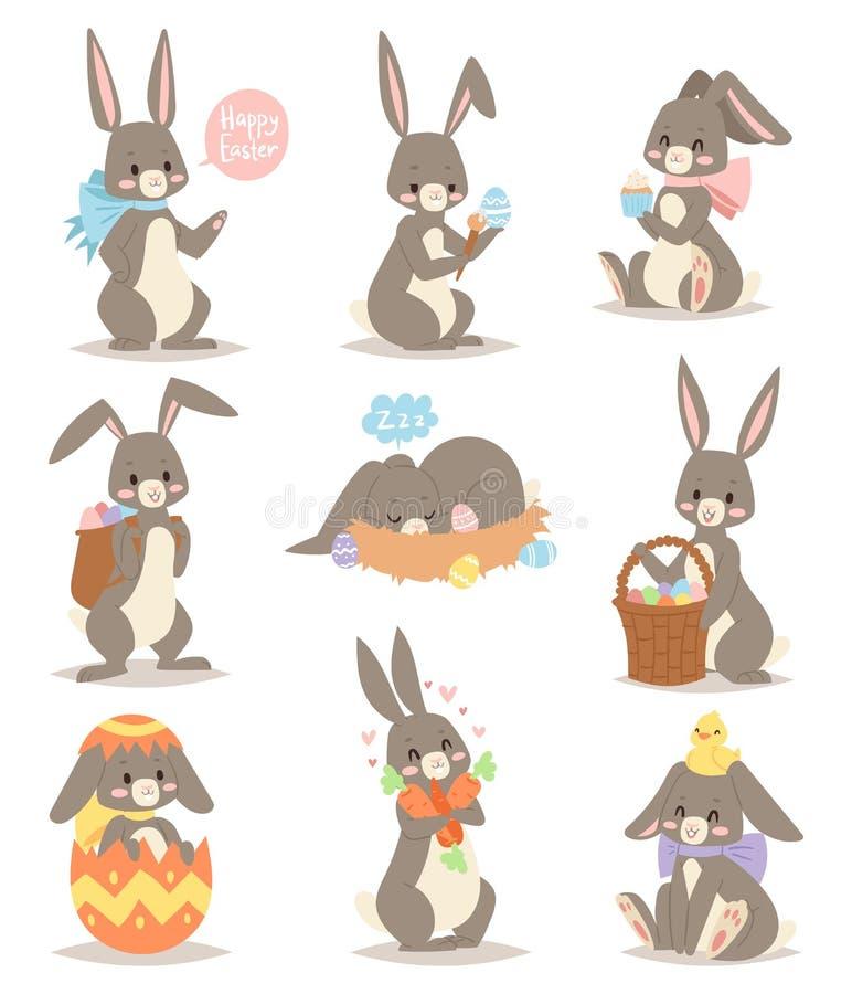 与篮子的愉快的兔子漫画人物快乐的哺乳动物的假日艺术野兔和与蛋滑稽的灰色的逗人喜爱的复活节兔子 向量例证