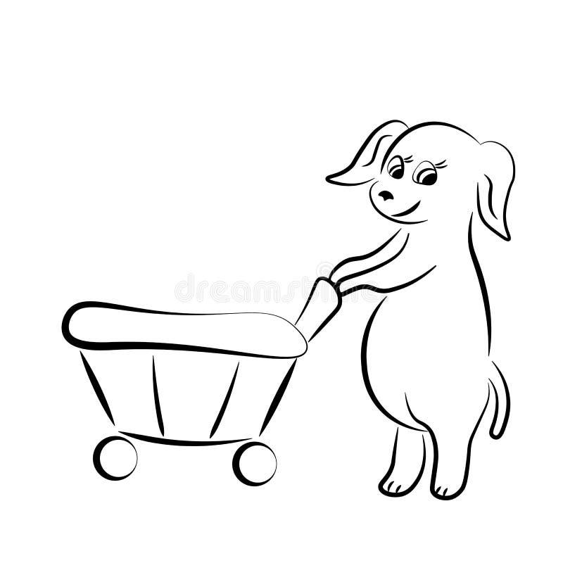 与篮子的狗 免版税库存照片