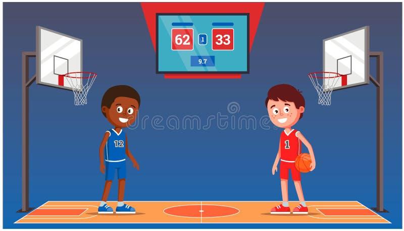 与篮球运动员的篮球场 与比赛比分的记分牌 体育馆 库存例证